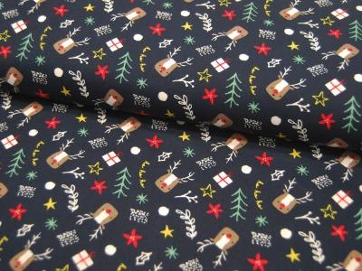 Baumwolle Popelin Weihnachten Moose Weihnachtliche Symbole