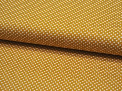 Baumwolle - Kleine Punkte auf Gelb/Senf