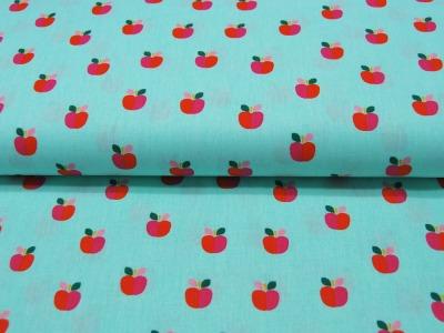 Baumwolle Lovely Apple Äpfel auf Türkis