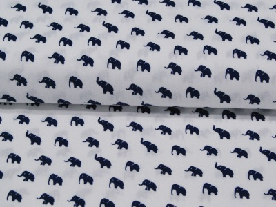 Elephants Dunkelblaue Elefanten auf Weiss Baumwolle