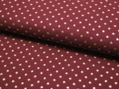 Musselin/Double Gauze - Gold Star - Bordeaux 0,5 m