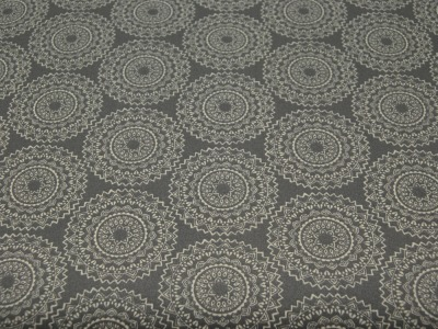 Beschichtete Baumwolle - Ornamente Dunkelgrau/Weiss 50x65 cm
