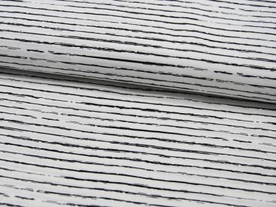 Baumwolle - Schwarze Streifen auf Cremeweiß