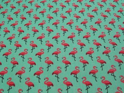 Beschichtete Baumwolle Flamingo auf Hellgrün 50x78cm