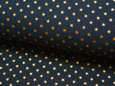 Musselin/Double Gauze - Gold Star - Dunkelblau 0,5 m