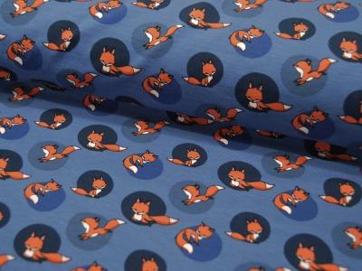 Jersey Niedliche Füchse auf Blau 05m