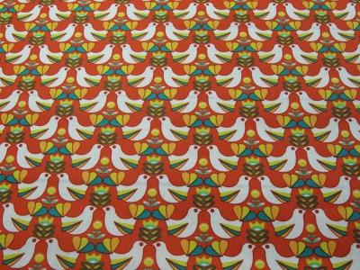 Beschichtete Baumwolle Vogelmuster auf Rotorange x75