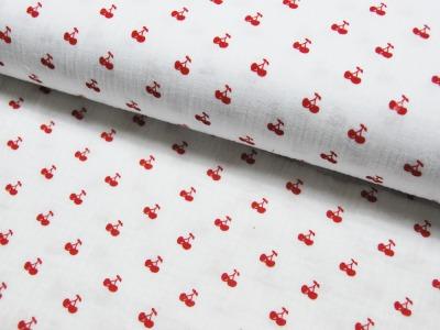 Musselin/Double Gauze -Kirschen -Rot auf Weiß