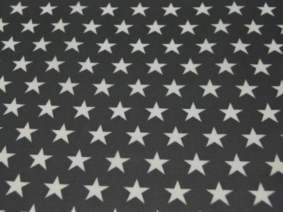 Beschichtete Baumwolle Sterne auf Dunkelgrau 50x70