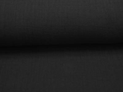 Musselin/Double Gauze - Uni Schwarz 050m