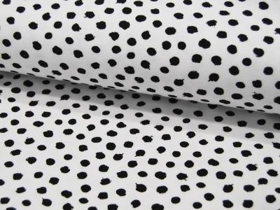 Jersey GOTS Dots Schwarz auf Weiß