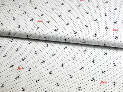 Mini Polka Ahoy - Anker und Minipunkte auf Weiß - Baumwolle 0,5m