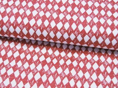 Baumwolle Arlequee Rautenmuster in Rot-Weiß 05m