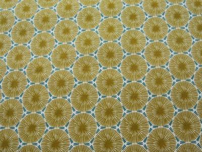 Beschichtete Baumwolle - Graphisches Muster in Senf mit Petrol - 50 x 75 cm