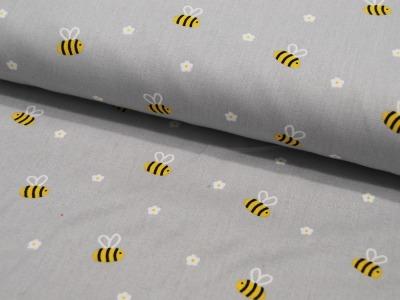 Baumwolle Bee with Flowers Bienen auf