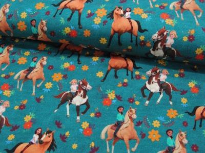 French Terry SPIRIT Reitende Mädchen Pferde