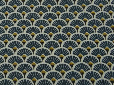 Beschichtete Baumwolle - Fächermuster Jeansblau 50 x75 cm