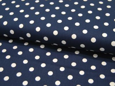 Weiße Dots auf Dunkelblau - Baumwolle