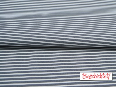Beschichtete Baumwolle Stripe Streifen in Grau-Weiß