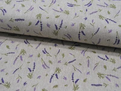 Dekostoff Lavendel auf Beige Emma 05m