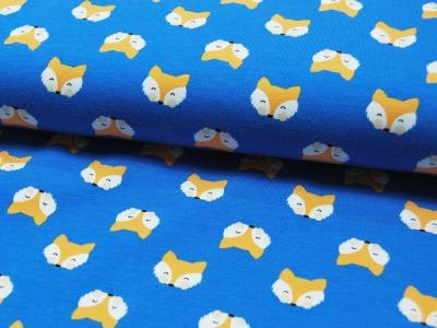Jersey - Fuchsköpfe auf Blau - 0,5 m