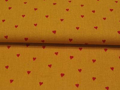 Beschichtete Baumwolle Herzen Ocker Rot 145cm