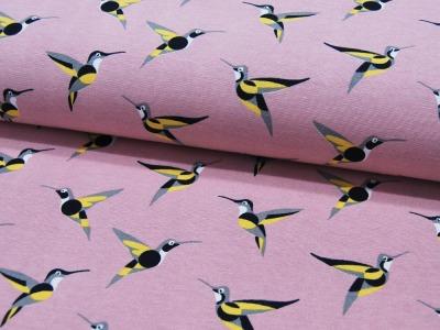 REST Dekostoff Kolibris auf Rosa 035m