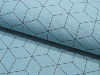 Dekostoff Graphisches Muster auf Matt Hellblau