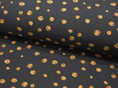 Dekostoff Senffarbene Dots auf Schwarz 05m