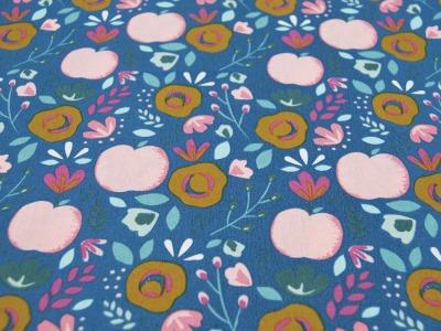 Beschichtete Baumwolle EASY PEACHY auf Blau