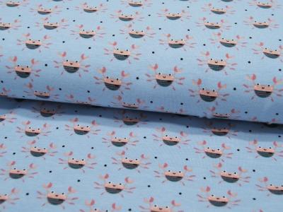 Jersey Kleine Krabben auf Hellblau 05m
