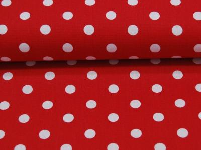 Weiße Dots auf Rot - Baumwolle
