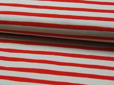 Jersey - BIO -Saltwater Knits - Rot-Weiß gestreift- 0.5m - Oranic Cotton - zertifizierte BIO Baumwolle
