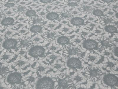 Beschichtete Baumwolle Blumenmuster auf Grau 50x65