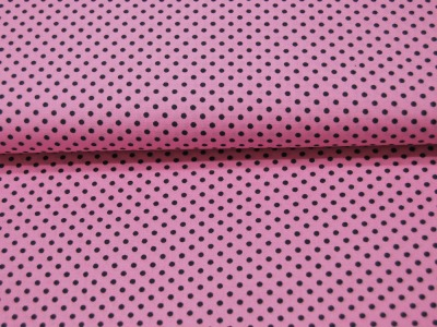Baumwolle - Rosa mit dunkelgrauen Dots