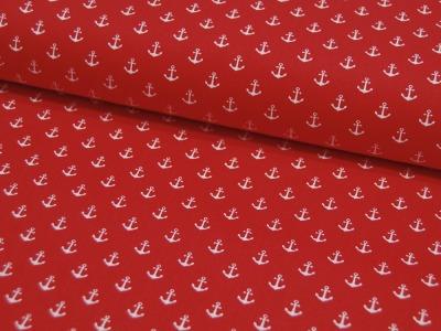 Baumwolle Mini-Anker in Weiß auf Rot