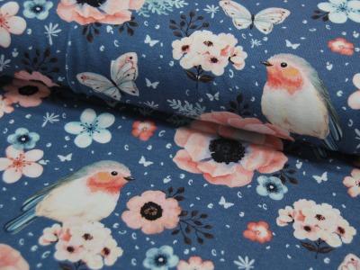 Jersey Vogel und Schmetterling auf Jeansblau