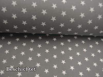 Beschichtete Baumwolle Weiße Sterne auf Grau