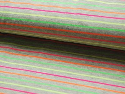 Jersey - Hellgrau meliert mit Neonfarben Streifen - 0.5 Meter