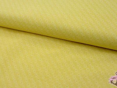 Sonnengelbe Baumwolle mit weißen Muster 0,5 m