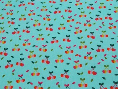 Beschichtete Baumwolle Kirschen auf Türkis 50x74