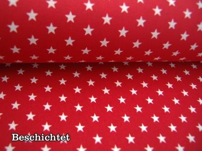 Beschichtete Baumwolle Weiße Sterne auf Rot