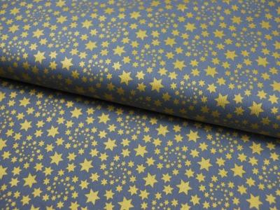 Baumwolle Grau mit goldenen Sternen 0,5m