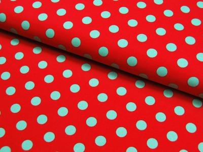 Gepunktete Baumwolle Rot mit grünen Punkte 0,5 m