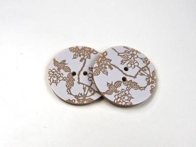 Knöpfe - 2 Stück: Weiß auf Beige mit Blumen - Tolles Knopf-Set