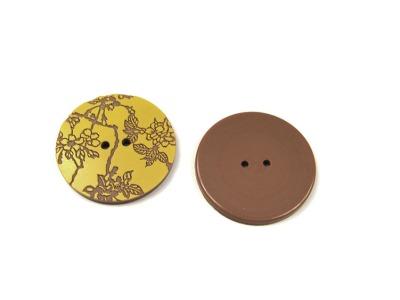 Knoepfe - 2 Stueck Senfgelb auf Braun mit Blumen - Tolles Knopf-Set
