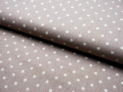 Creme Punkte auf Beige - Baumwolle-Leinen 0,5m