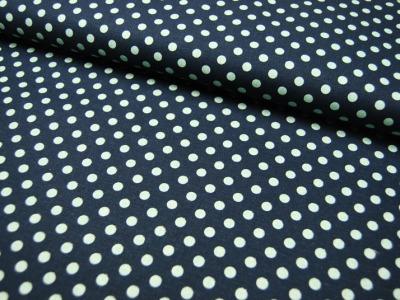 Mint Punkte auf Blau Baumwolle-Leinen 05m