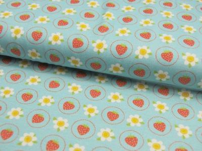 Jersey - Erdbeeren und Blüten auf Hellblau - 0,5m