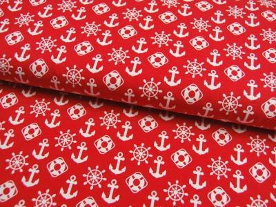 JERSEY - Maritime Symbole auf Rot - 0,5m